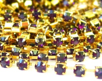 3 feet dark Amethyst 3mm 12SS Rhinestone GOLD  plated brass chain trim - middle east stone - 36 inches