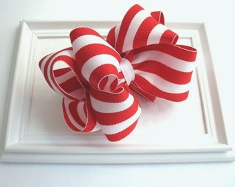 Girls Christmas Hair Bow ~ Red and White Striped Boutique Hair Bow