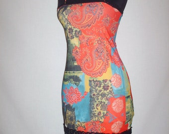 1990s Style Bali Paisley Print Dress