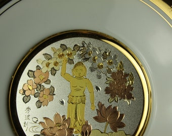Chokin Plate Lotus & Buddha's Birthday Copper Etching Silver and 24 K Gold Gilding