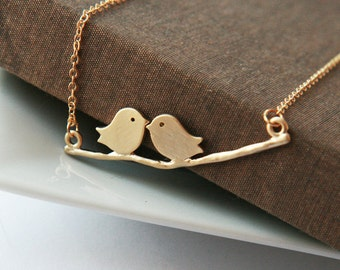 Gold Necklace,Love Birds Gold Necklace,Birds on a Branch,Minimal Necklace,Bridesmaid Gift