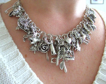 Feature Necklace, silver plated, loaded charms, necklace, 50 plus charms, by NewellsJewels on etsy