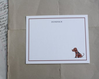 Dog Puppy Thank You Notes for Kids Children Fun Custom Notecard Stationery. Any Occasion, Personalize Watercolor Print, Set of 10.
