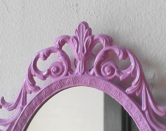 Lilac Princess Mirror in Vintage 8 by 5 Inch Metal Frame, Purple Home Decor, Wall Decor, Nursery Room