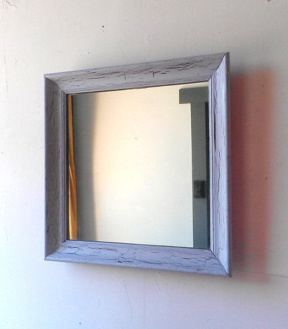 Large Square Mirror in Lavender Gray Weathered Crackle 20 by 20 Inches