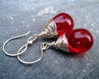 On SALE Red Glass and Sterling Silver Dangle Earrings - czech glass wire wrapped teardrop earrings ruby red