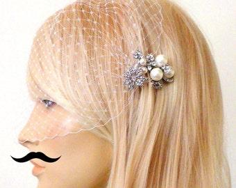 birdcage veil and a small bridal comb -  Swarovski Pearls Comb,Wedding comb,bridal headpieces , rhinestone bridal Hair comb