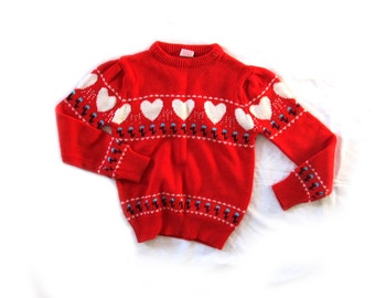 vintage sweater girls childrens clothing 1980s bright red heart print novelty size 14