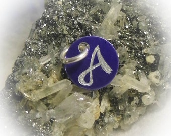 Letter A Hand Engraved Purple Personalized Small  Charm 1/2 inch