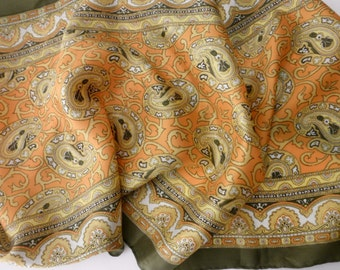 Vintage paisley hand rolled scarf  - orange, gold, olive green, 1960s, 1970s