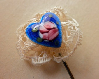 vintage blue enameled Stick Pin - heart, roses, lace