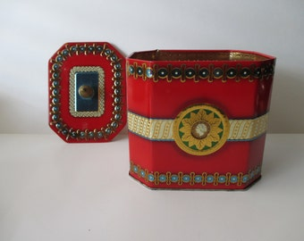 vintage SLK octagonal Decorative TIN - gold,  red, geometric,  Made in England