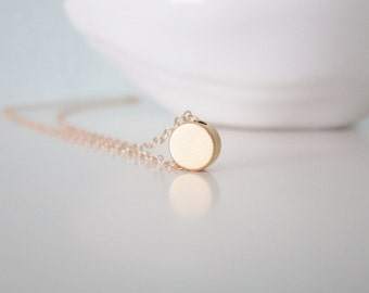 Tiny gold dot necklace on 14k gold filled chain, delicate modern jewelry
