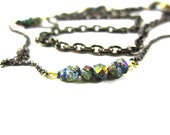 Titanium Pyrite Dual Chain Necklace ~ Long