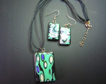 Polymer Clay Mokume Gane Necklace and earrings