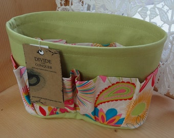Purse Insert ORGANIZER SHAPER / Floral #6 on Celery / STURDY / 5 Sizes Available / Bag Organizer /Check out my shop for more colors & styles