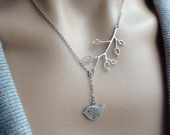 Silver Branch Lariat with Birdy Dangle - gift, Christmas, mother, wife, sister, daughter, bridesmaid, romantic, love, friend, birthday