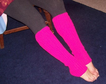 Hot Pink Legwarmers, Cherry Boot Socks, Exercise Legwarmers, Dance Legwarmers,