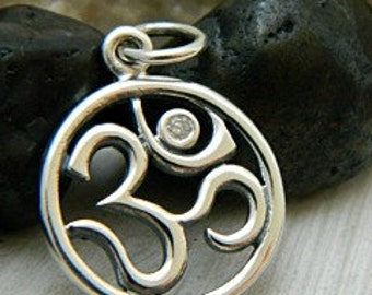 Sterling Silver Ohm Symbol with Genuine 1 Point Diamond - C916, Yoga Charms, Buddhism Charms