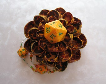 Elements of Earth Kanzashi Dice Flower Top Hat Hair Clip