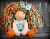 Waldorf Doll Meet Goldie and her gold fish friend Bubbles ...13 Inches All Natural Hand spun Hand dyed Wool Yarn Hair