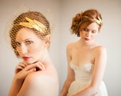 Plume d'or headband and bandeau veil set, #805