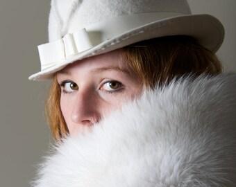 Ivory Hat Luxe Millinery Women Fedora  Trilby English Millinery  Menswear Winter Wedding