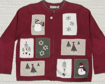 Ugly Christmas Sweater with Great Folk Art Appliques and Embroidery