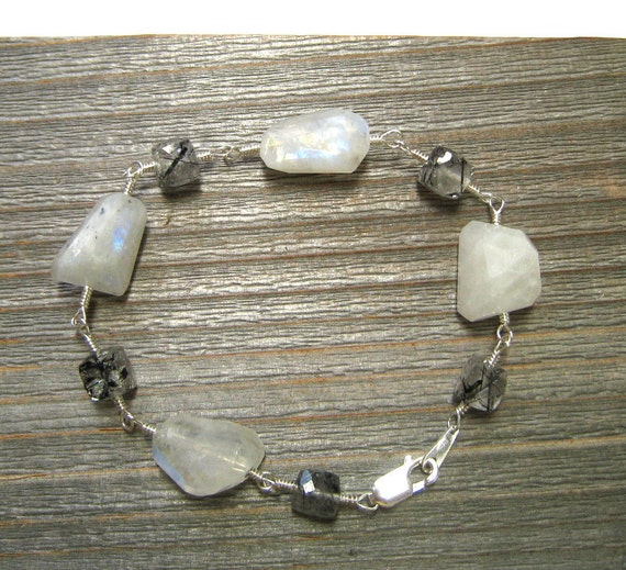 Rainbow Moonstone Bracelet With Tourmilated Quartz,  Handmade In Sterling Silver