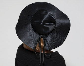 Vintage 1940s Black Satin Hat - Floppy Big Brim Bow - Evelyn Varon Fashions