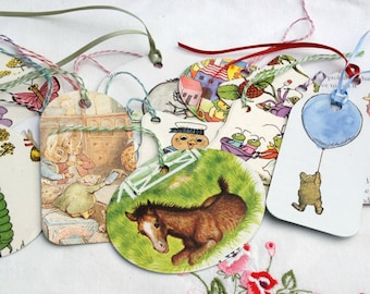 Set of 10 - Vintage Children's Gift Tags  - Eco Friendly - Recycled