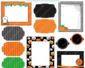 Halloween Frames - Cute Frame Clipart - Commercial Use OK - Digital Frames - Journaling Block - Halloween Frames Clipart