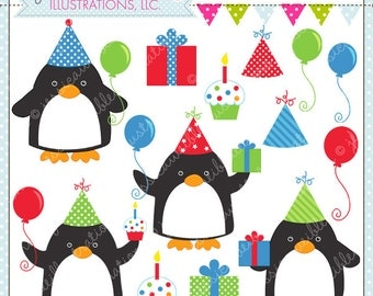 Birthday Boy Penguins Cute Digital Clipart for Commercial or Personal Use, Birthday Clipart, Birthday Graphics