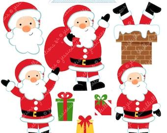 Jolly Old Saint Nick - Cute Digital Clipart - Commercial Use OK, Santa Clipart, Santa Graphics, Christmas Clipart