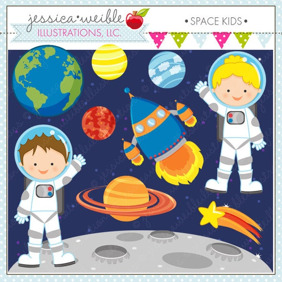Scrapbooking  and Web Design  Astronaut Clipart  Space GraphicsKid Astronaut Clip Art