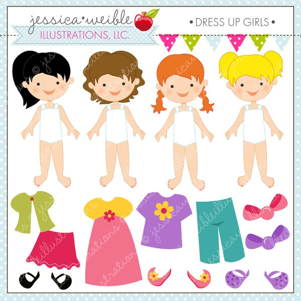 Dress Up Girl Cute Digital Clipart For Invitations Card