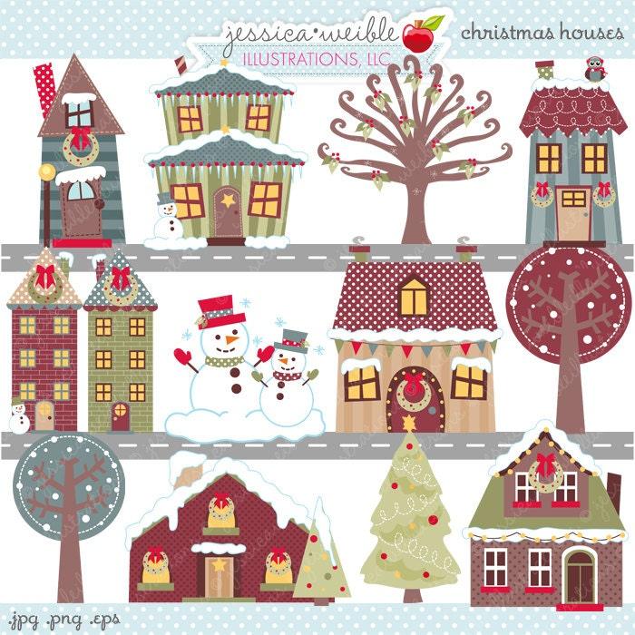 Christmas Houses Cute Digital Clipart Commercial Use OK