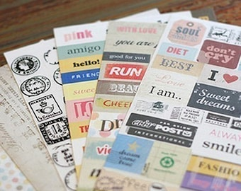 Diary Message Stickers - 6 sheets (3.95 x 5.7in)