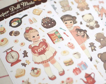 Paper Doll Mate Stickers Ver. 2 - Paper Type 6 sheets (4.3 x 7.4in)