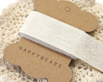 Beige Linen Label Tapes / L - 2 yards (1.2in)