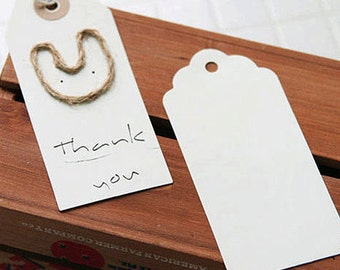 50 Round Gift Tags - Ivory (1.8 x 3.8in)