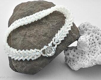 white party crystal bracelet . evening elegance . swarovski crystal . white . summer . vacation jewelry