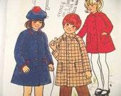 """Vintage Little Girls Toddler, Lined Coat or Jacket Pattern, Size 2, 21"""" Breast, Uncut"""