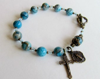 Blue Crazy Lace Rosary Bracelet with Bronze crucifix and Miraculous medal