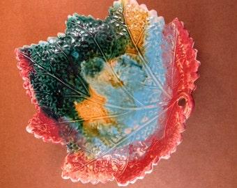 Antique Majolica Begonia Leaf Plate