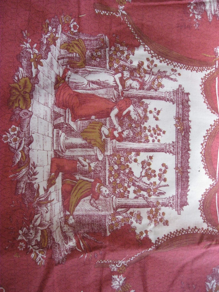 Toile Fabric Red And White French Country Life By