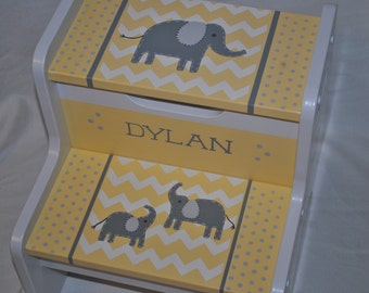 Kids Personalized 2 Step Stool - Chevron Elephants