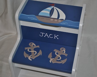Kids Personalized  2 Step Stool - Out To Sea Navy Blue