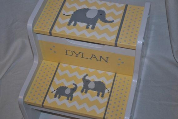 Kids Personalized 2 Step Stool Chevron Elephants