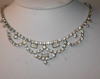 Vintage Rhinestone Choker Necklace signed KRAMER
